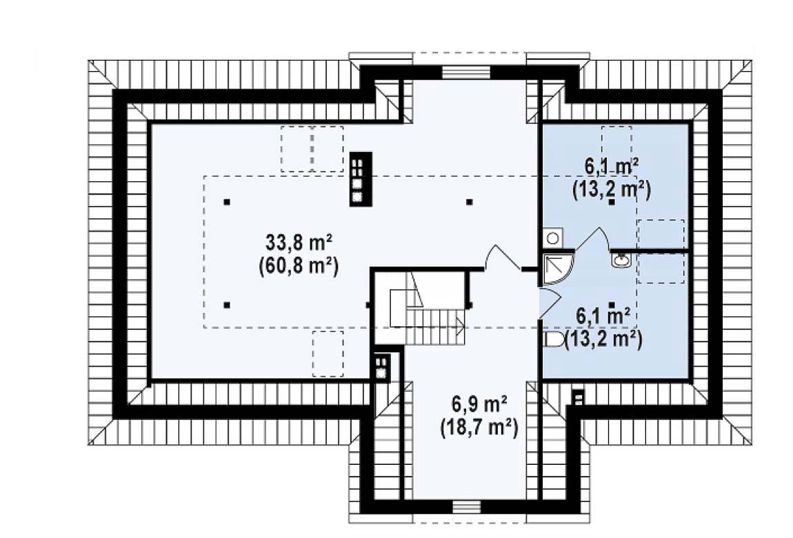 План N2 проекта дома из блоков АСД-1820