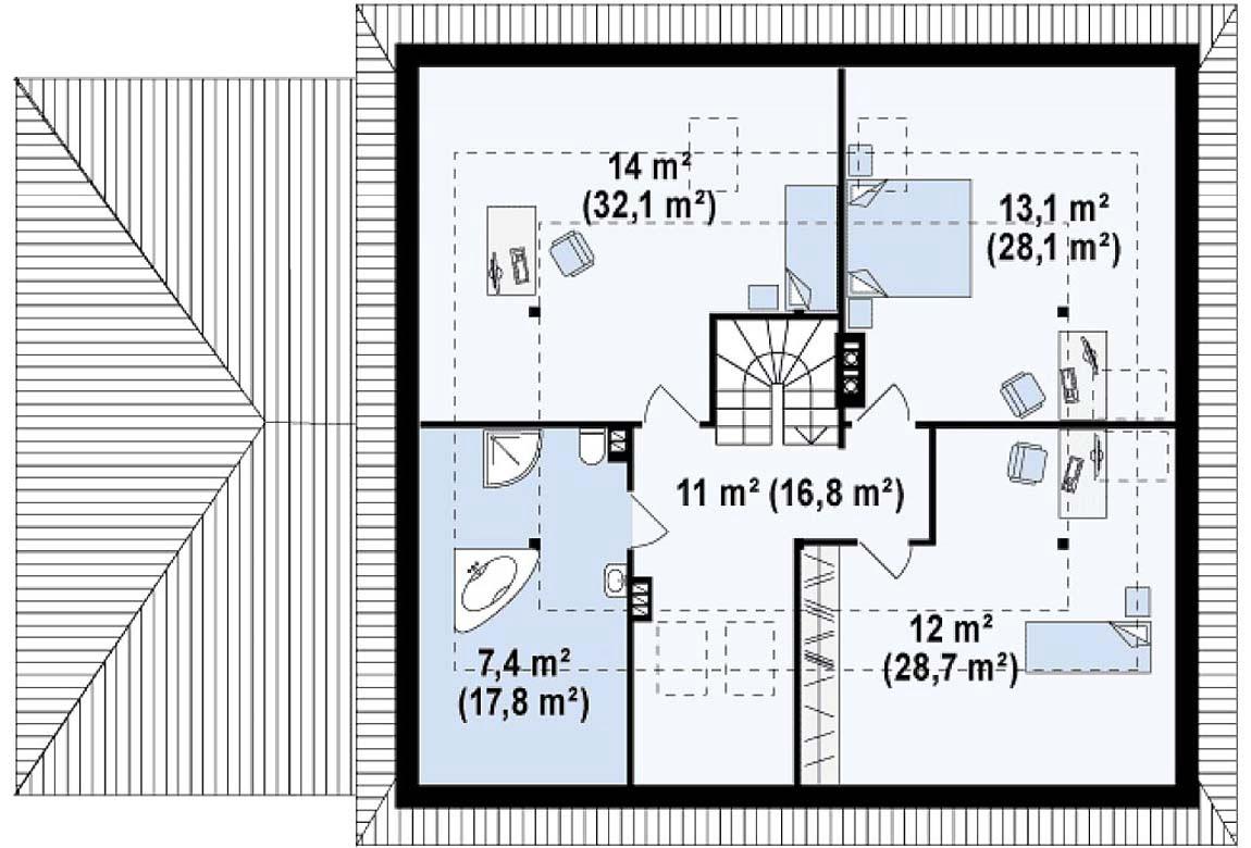 План N2 проекта дома из блоков АСД-1821