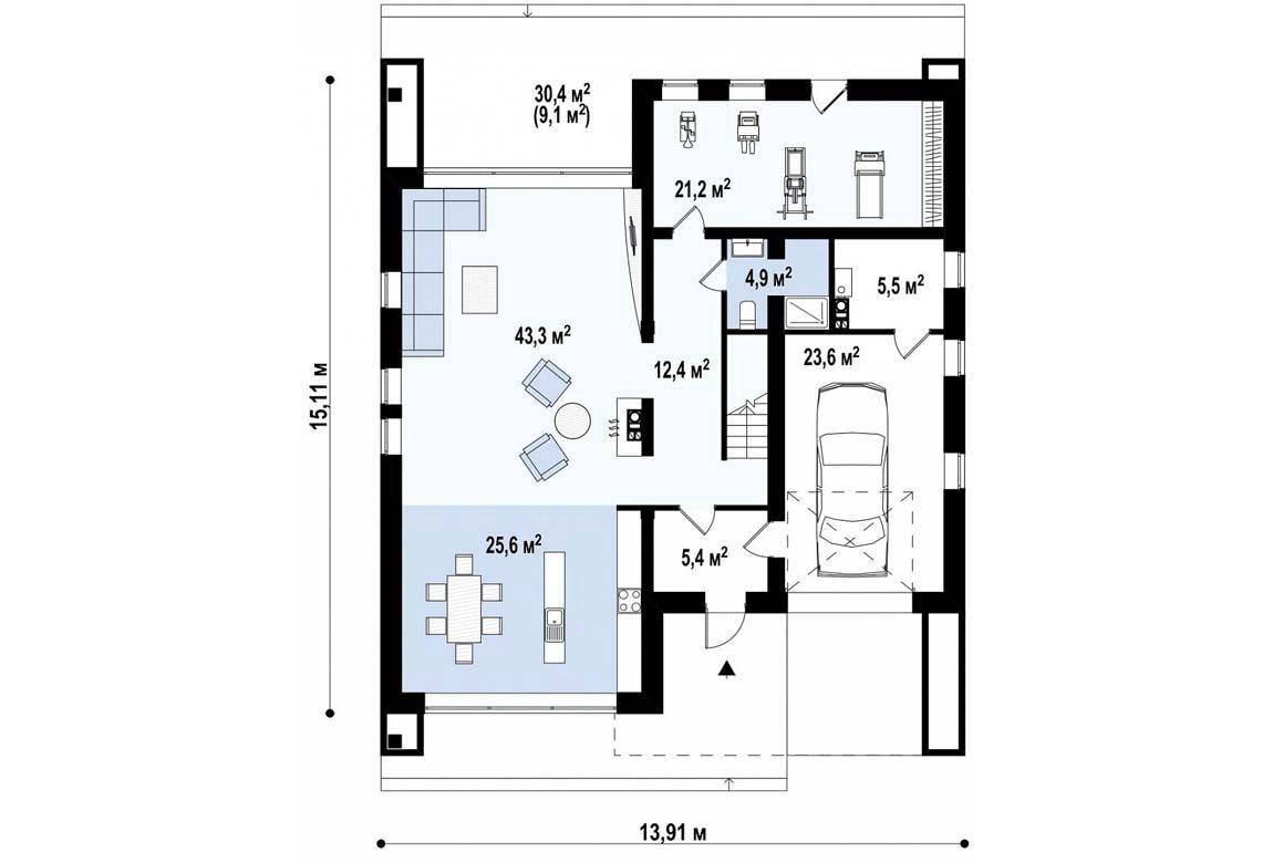 План N1 проекта дома из блоков АСД-1822