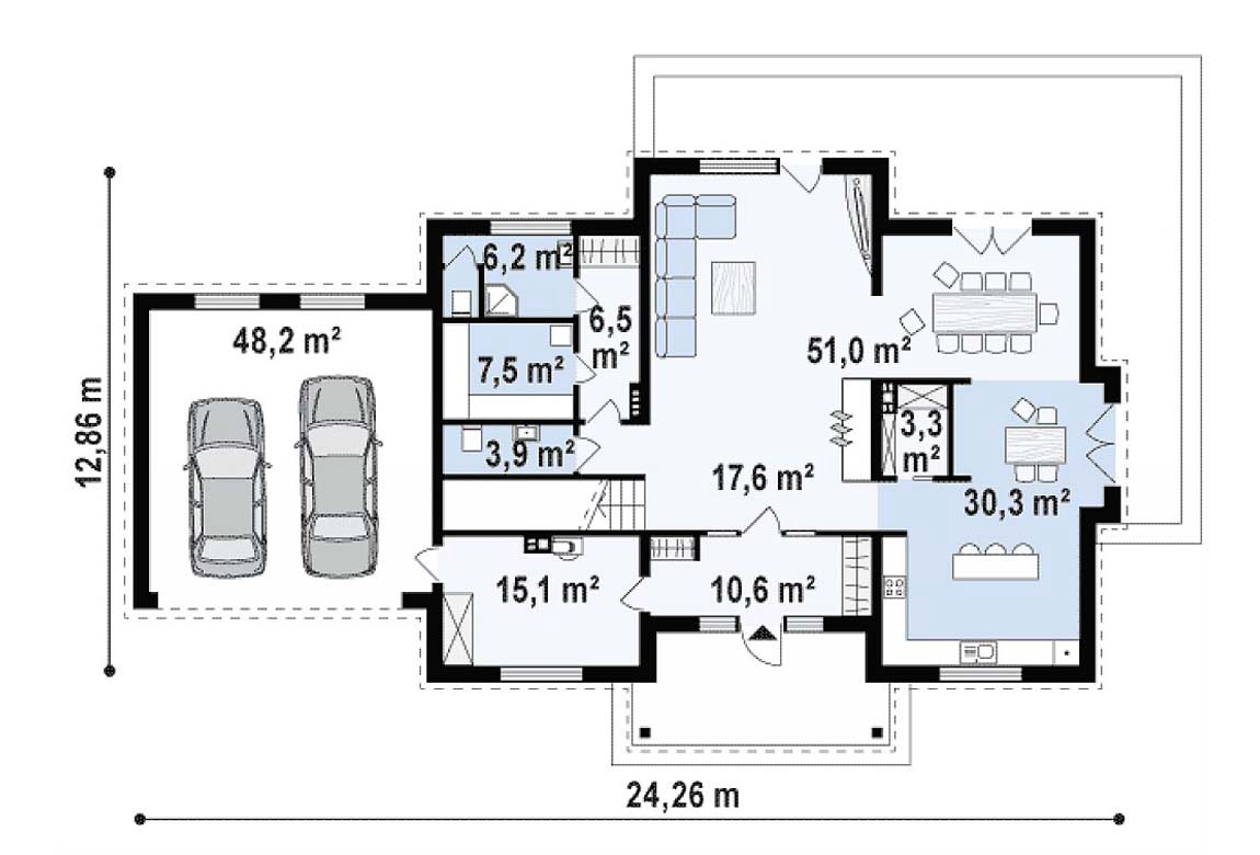 План N1 проекта дома из блоков АСД-1823