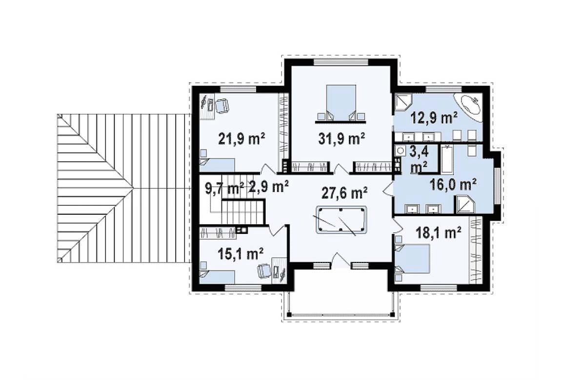 План N2 проекта дома из блоков АСД-1823