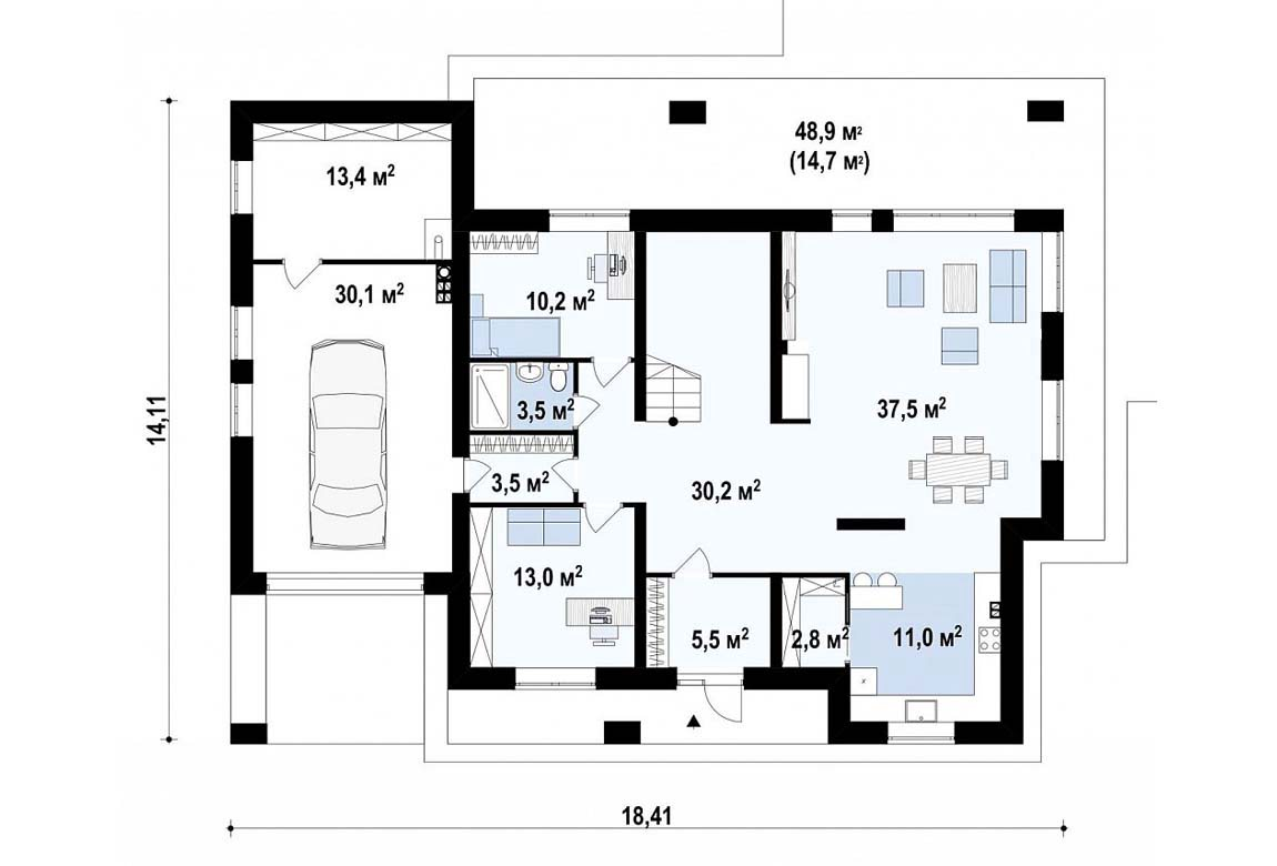 План N1 проекта дома из блоков АСД-1824