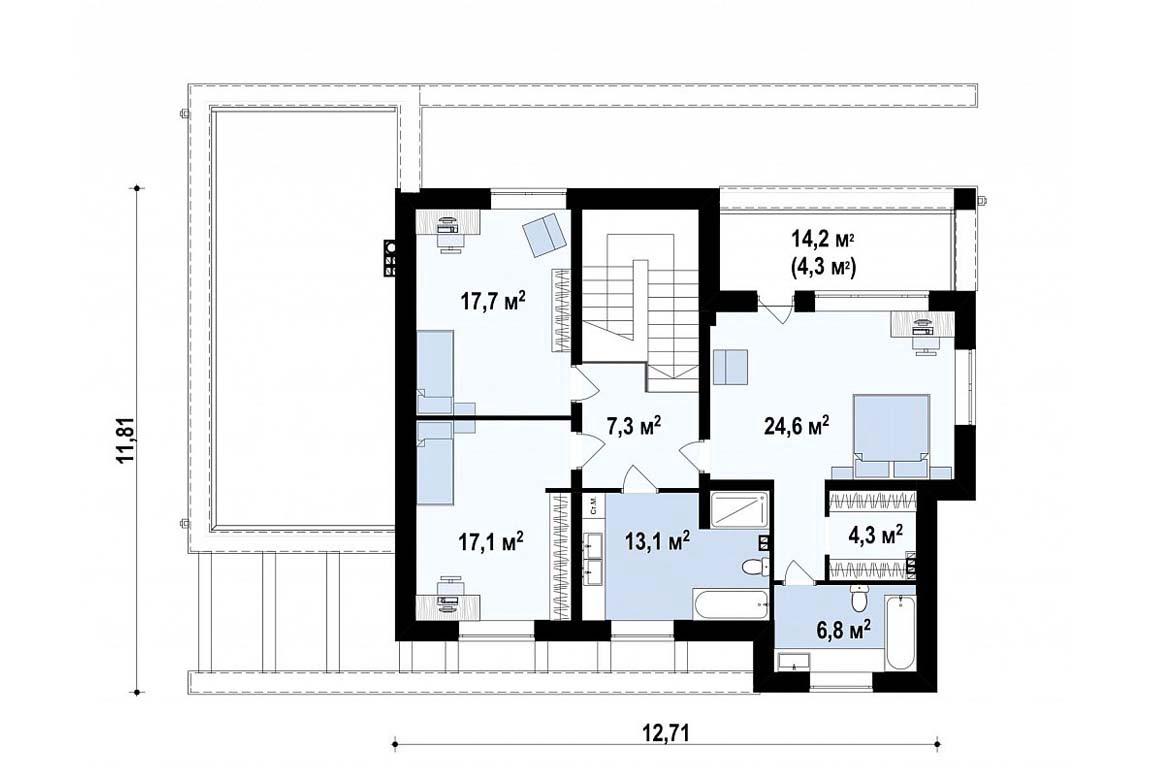 План N2 проекта дома из блоков АСД-1824