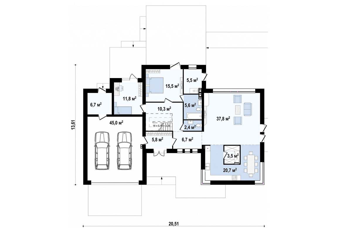 План N1 проекта дома из блоков АСД-1825