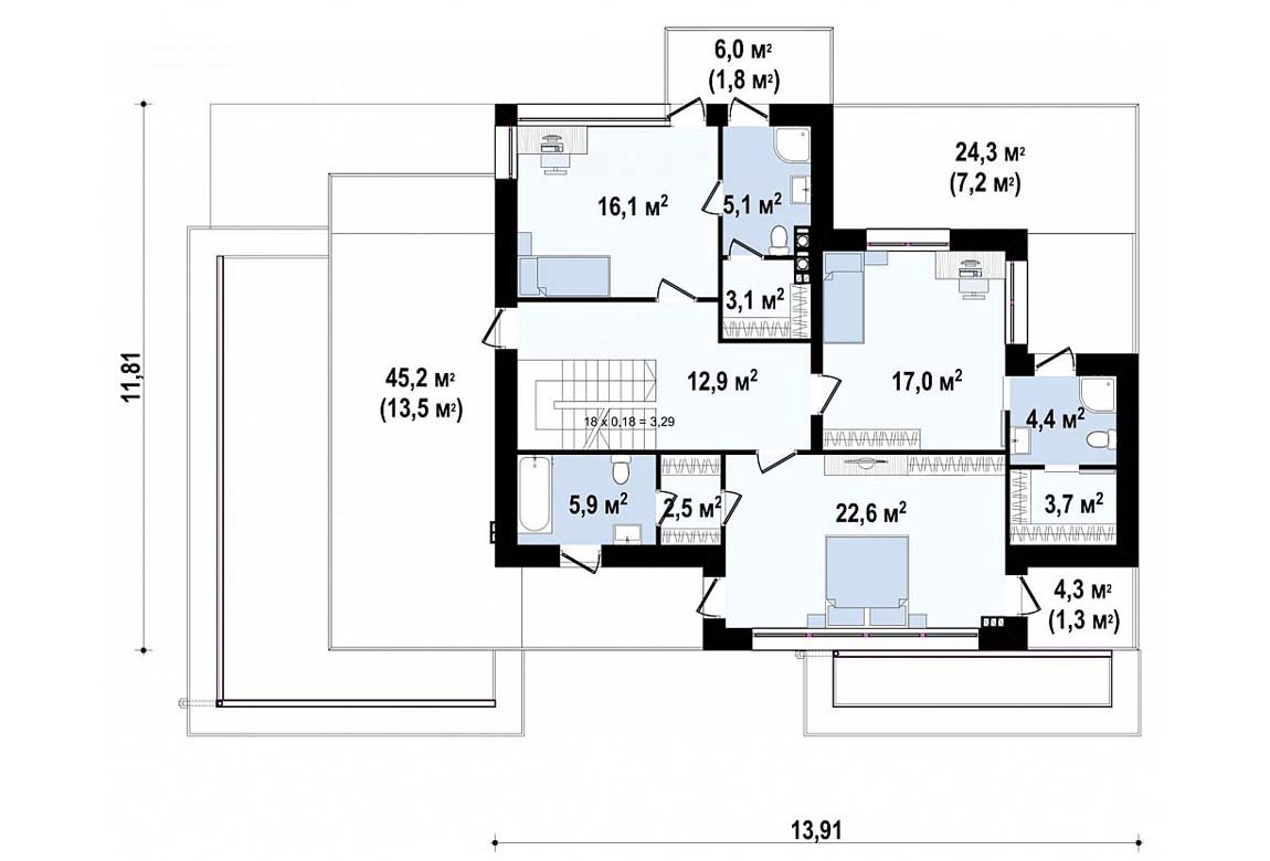 План N2 проекта дома из блоков АСД-1825