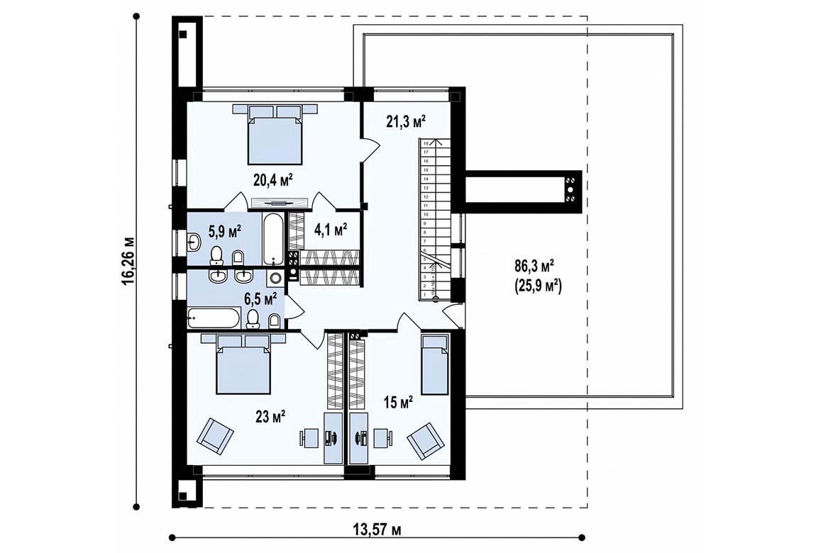 План N2 проекта дома из блоков АСД-1827