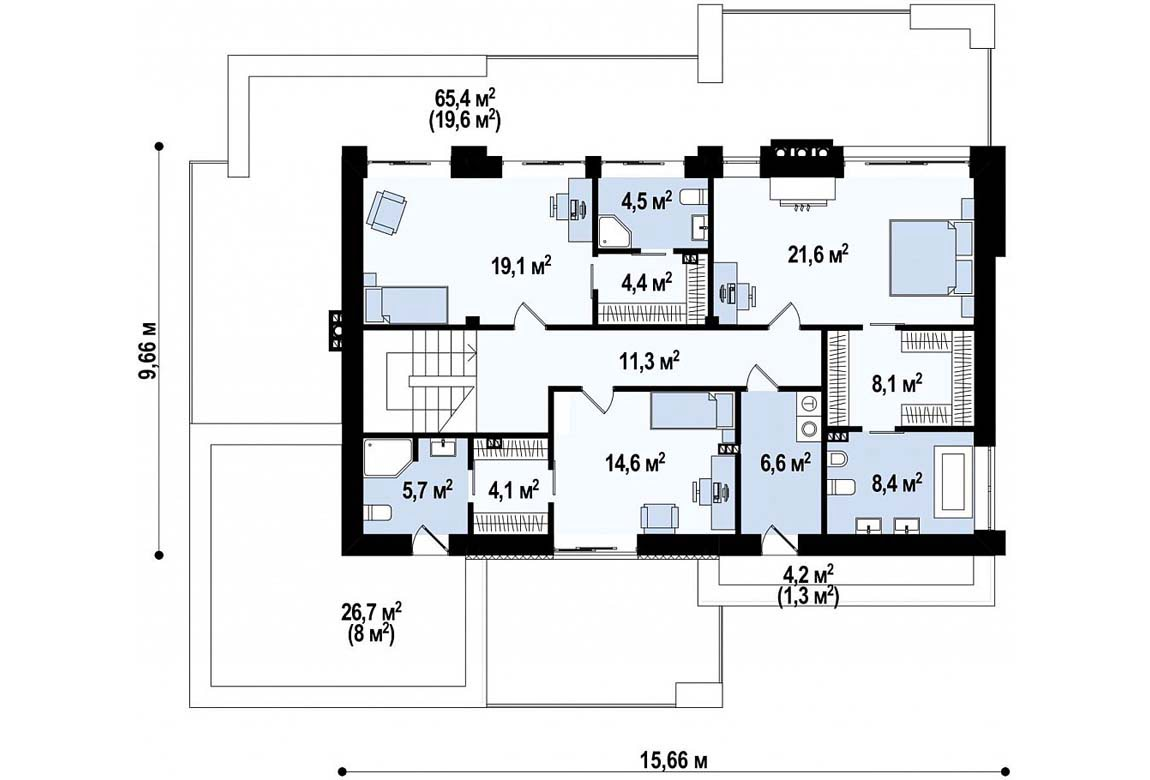 План N2 проекта дома из блоков АСД-1828