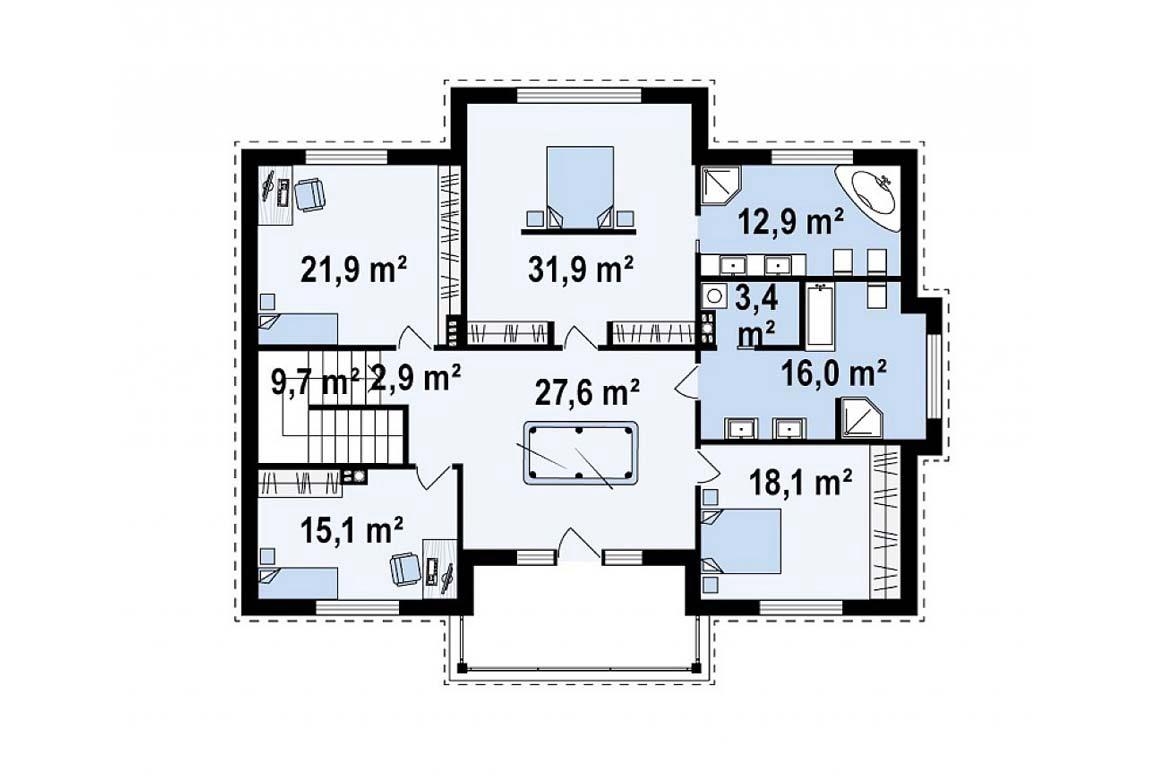 План N2 проекта дома из блоков АСД-1829