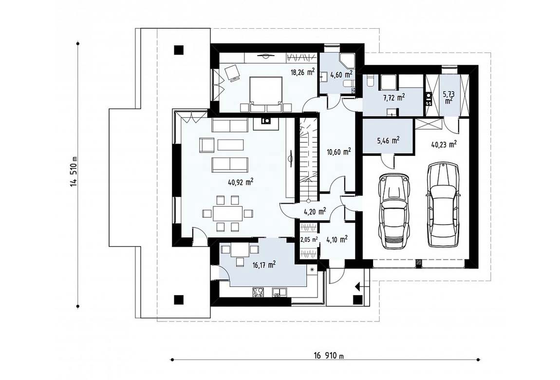 План N1 проекта дома из блоков АСД-1830