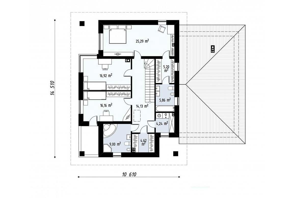 План N2 проекта дома из блоков АСД-1830