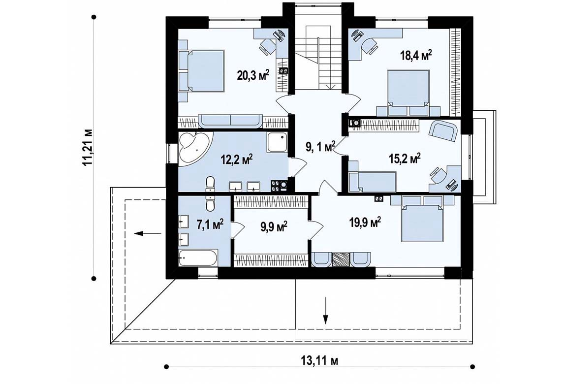 План N2 проекта дома из блоков АСД-1832