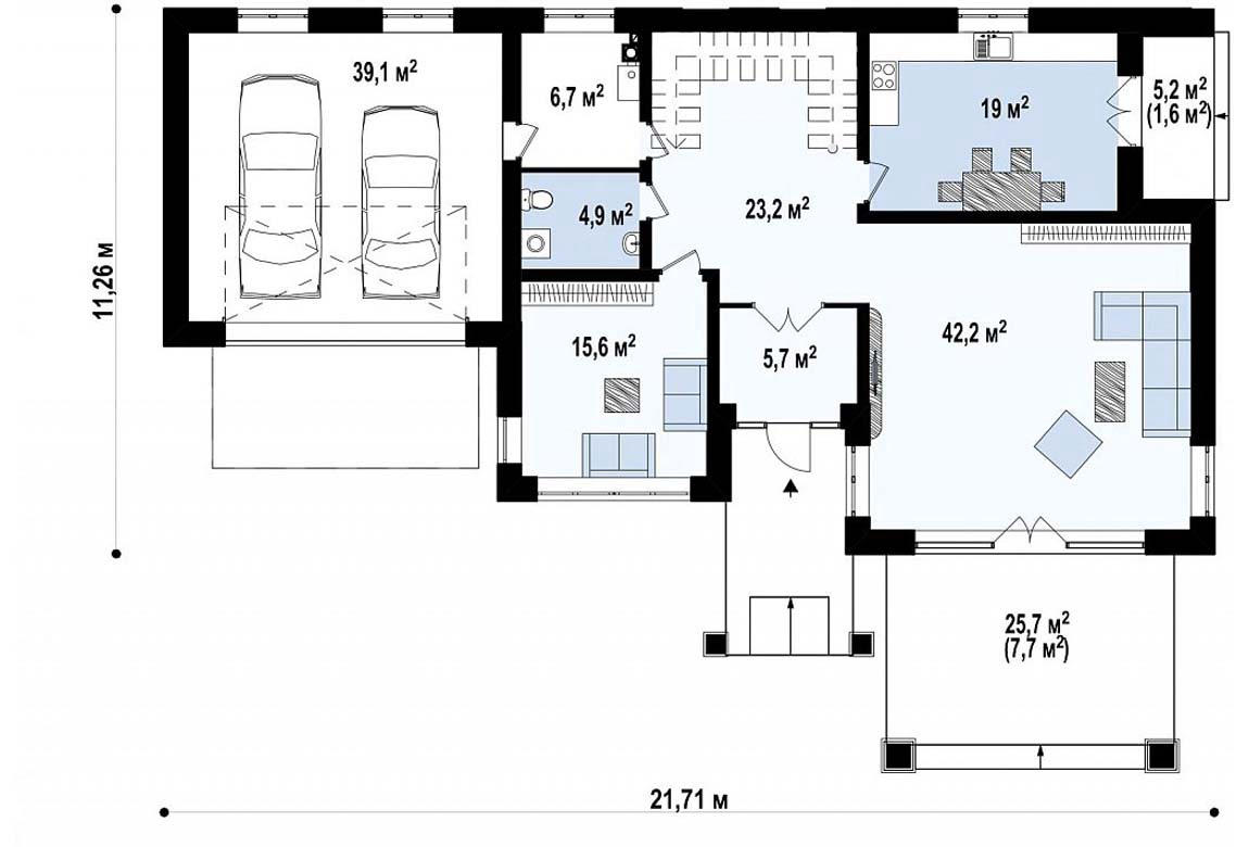 План N1 проекта дома из блоков АСД-1834