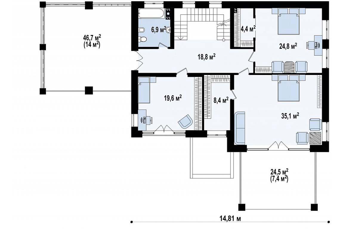 План N2 проекта дома из блоков АСД-1834
