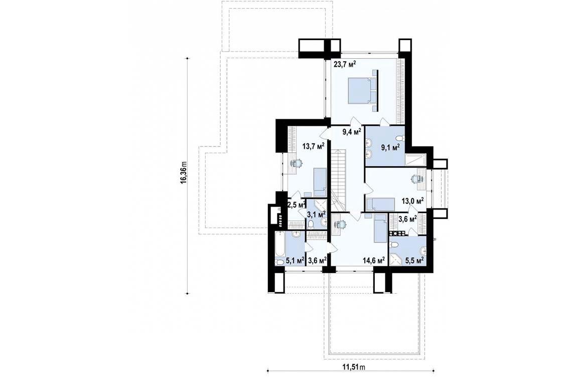План N2 проекта дома из блоков АСД-1835