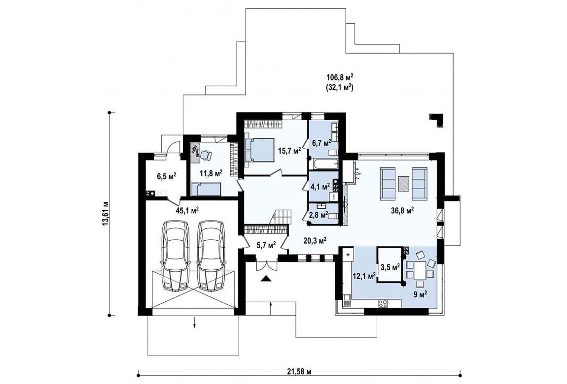 План N1 проекта дома из блоков АСД-1836