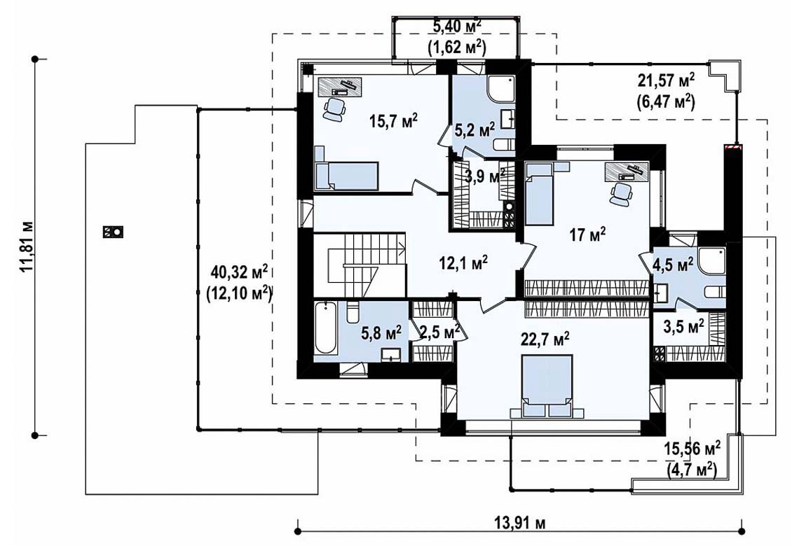 План N2 проекта дома из блоков АСД-1836