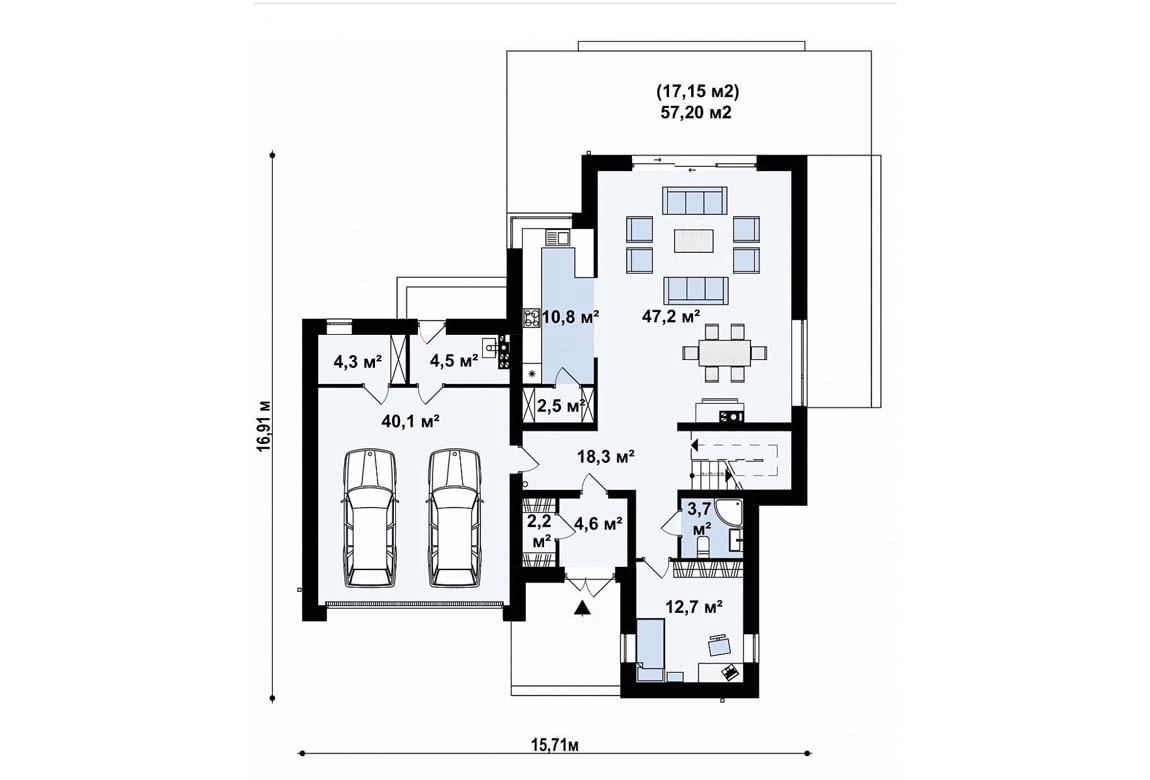 План N1 проекта дома из блоков АСД-1837