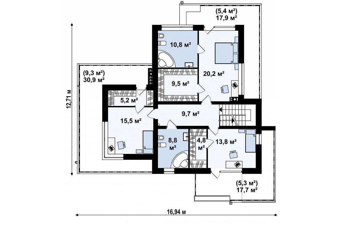 План N2 проекта дома из блоков АСД-1837