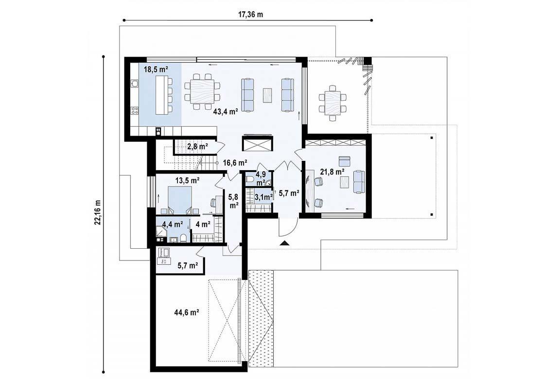 План N1 проекта дома из блоков АСД-1838