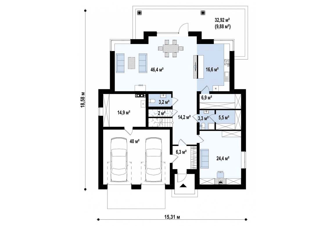 План N1 проекта дома из блоков АСД-1839