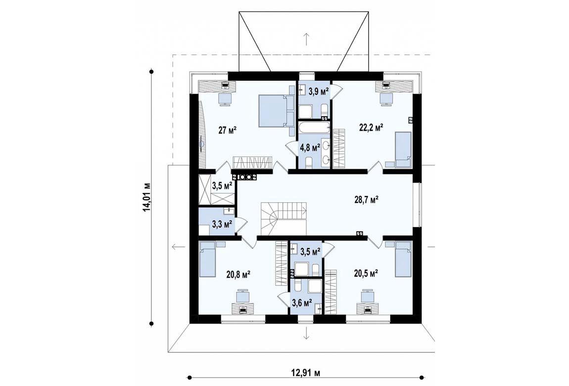 План N2 проекта дома из блоков АСД-1839