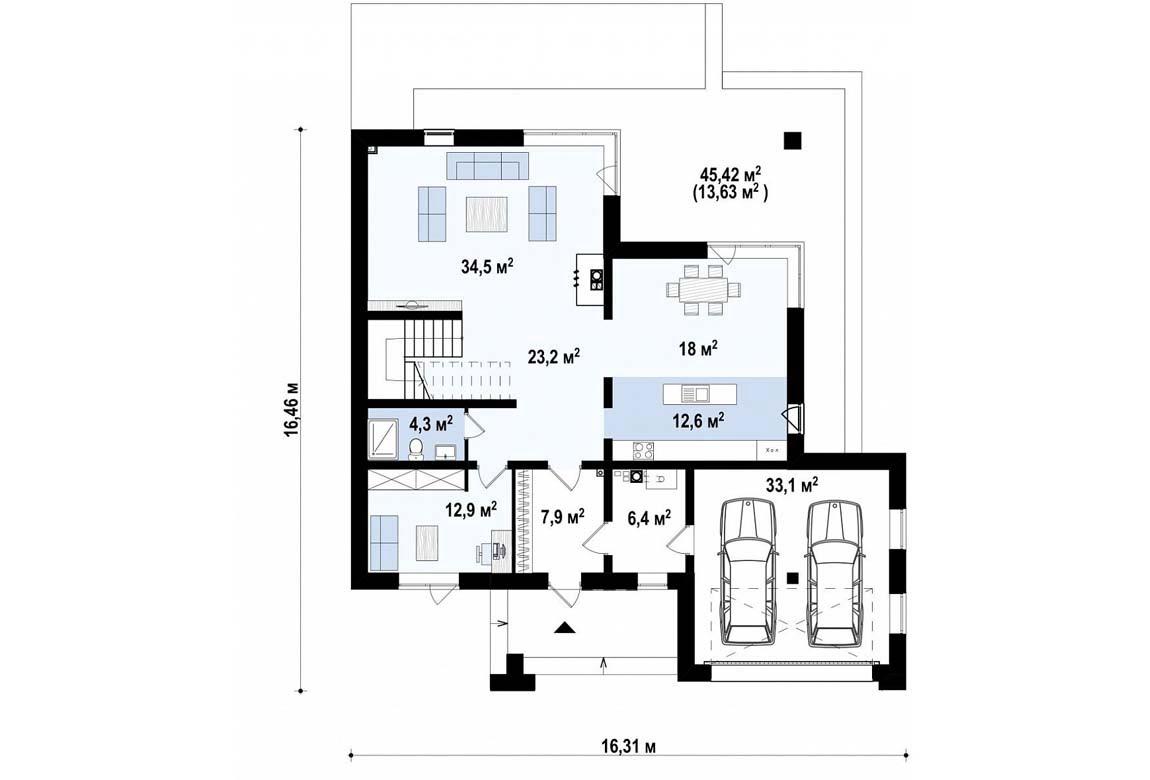 План N1 проекта дома из блоков АСД-1840