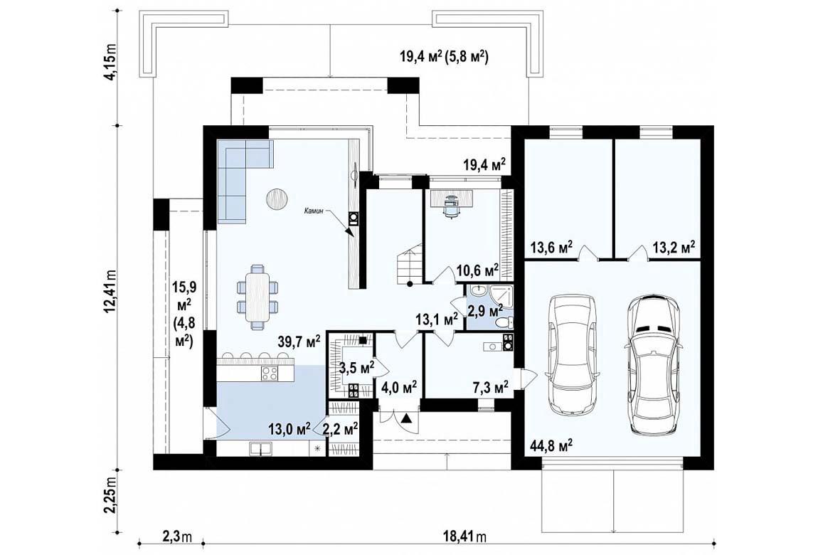 План N1 проекта дома из блоков АСД-1841