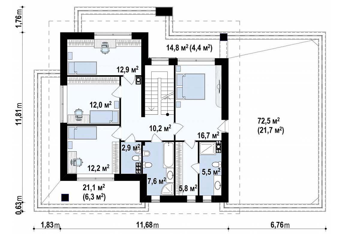 План N2 проекта дома из блоков АСД-1841