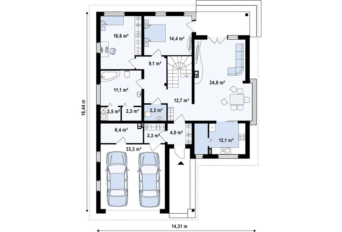 План N1 проекта дома из блоков АСД-1842