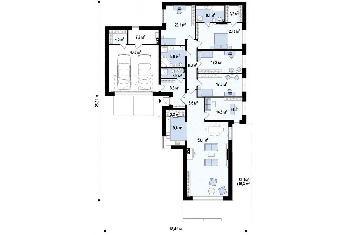 План N1 проекта дома из блоков АСД-1844
