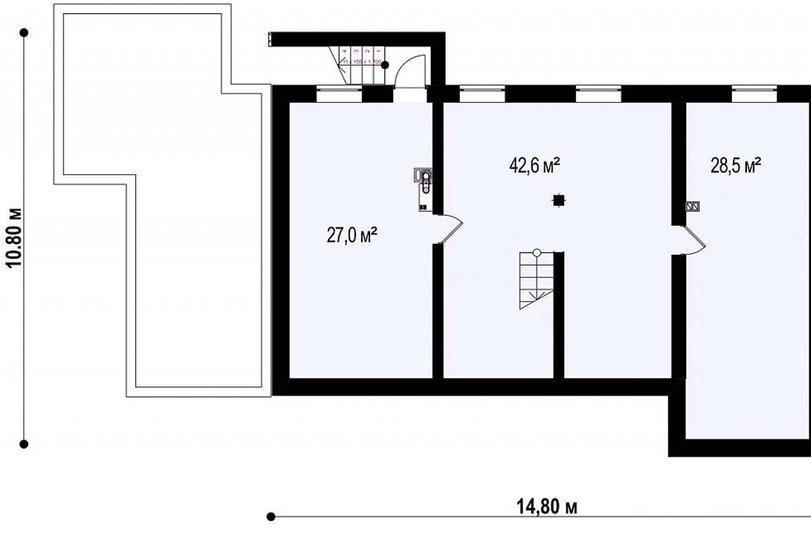План N3 проекта дома из блоков АСД-1848