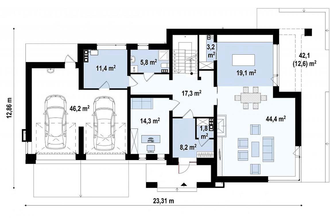 План N1 проекта дома из блоков АСД-1849