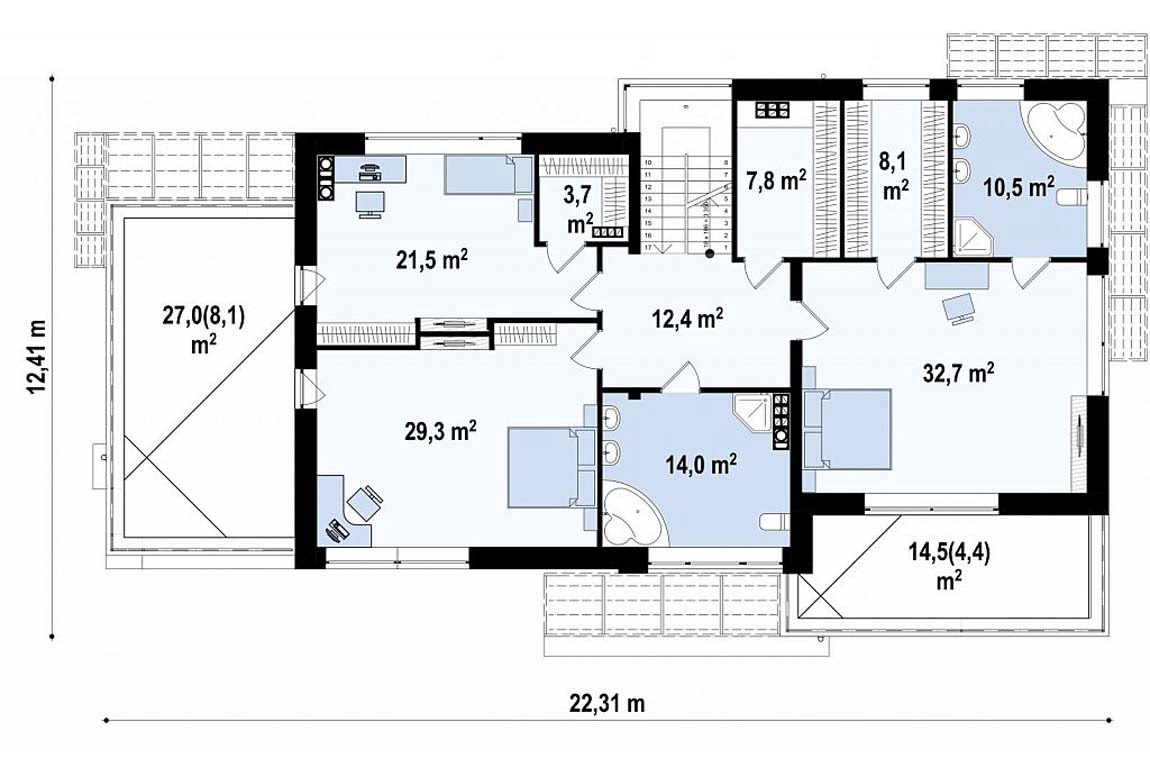 План N2 проекта дома из блоков АСД-1849