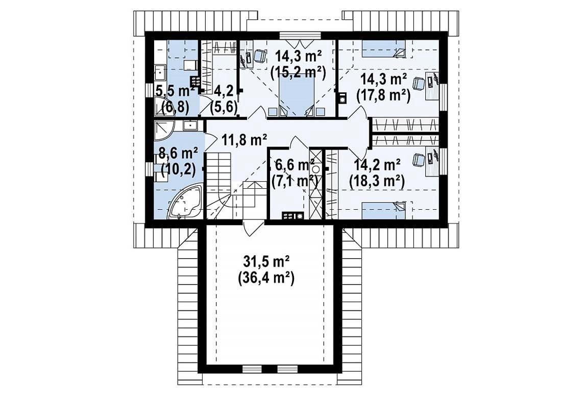 План N2 проекта дома из блоков АСД-1852