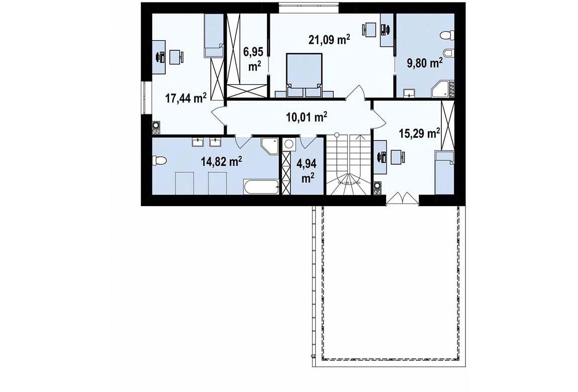 План N2 проекта дома из блоков АСД-1853