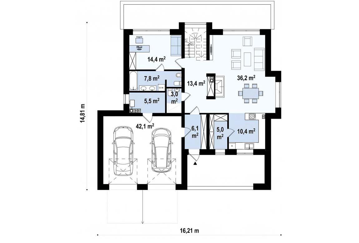 План N1 проекта дома из блоков АСД-1854