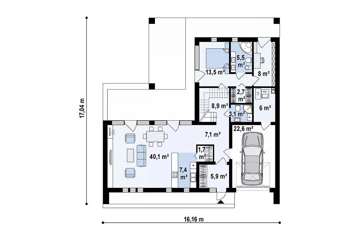 План N1 проекта дома из блоков АСД-1855