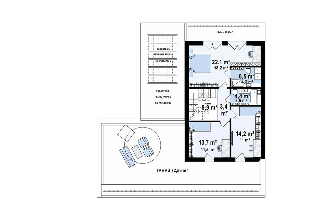 План N2 проекта дома из блоков АСД-1855