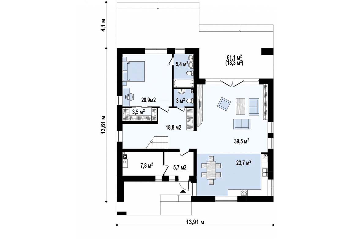 План N1 проекта дома из блоков АСД-1856