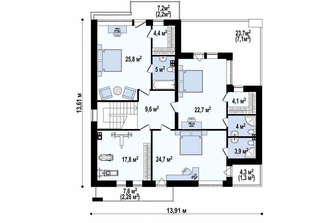 План N2 проекта дома из блоков АСД-1856