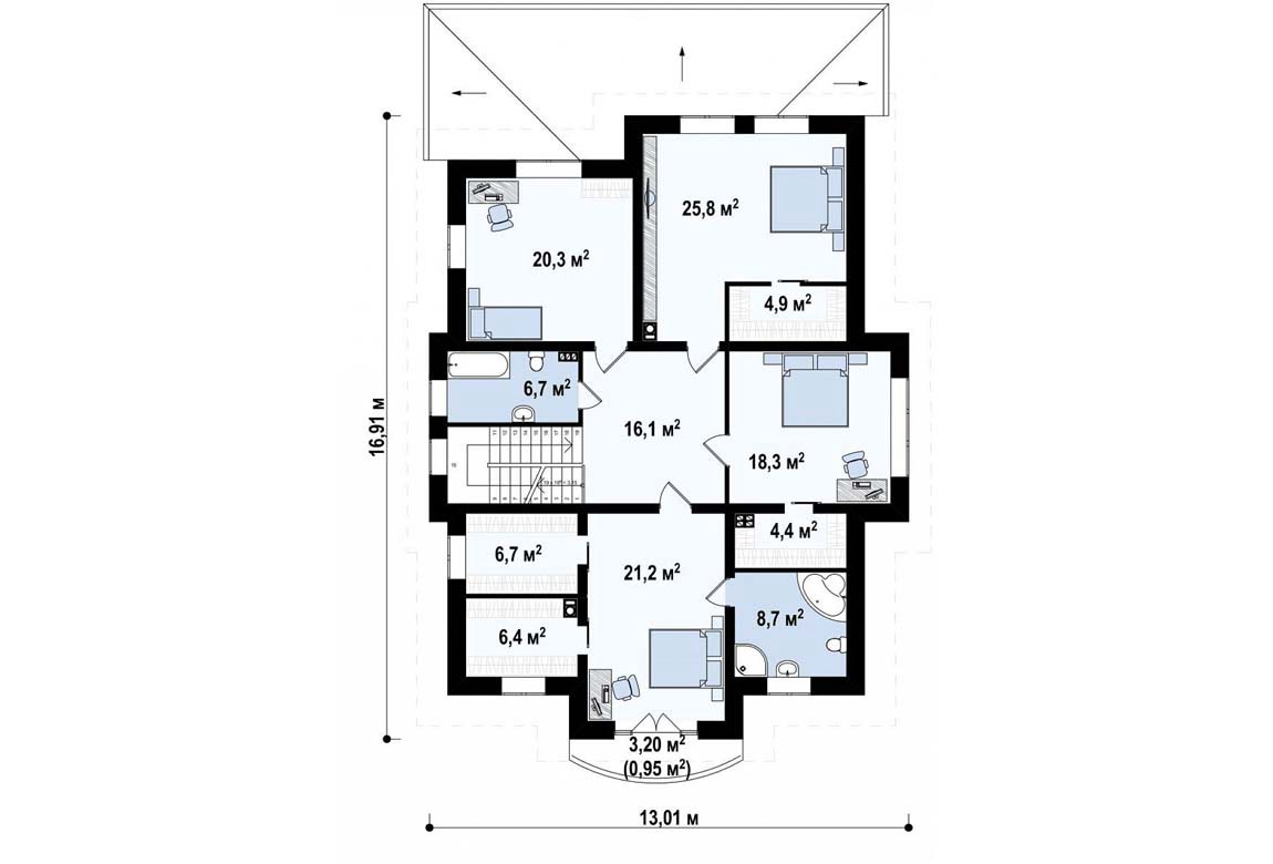 План N2 проекта дома из блоков АСД-1857
