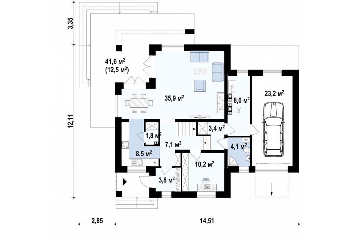 План N1 проекта дома из блоков АСД-1859