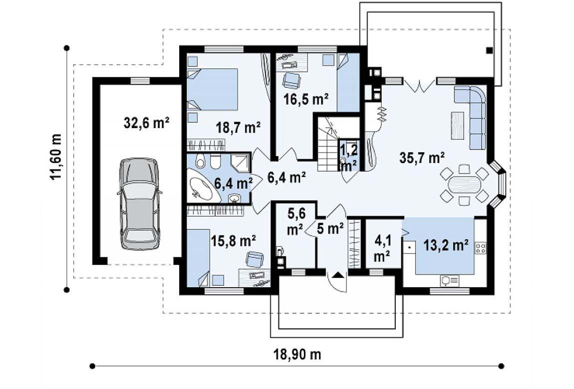 План N1 проекта дома из блоков АСД-1861