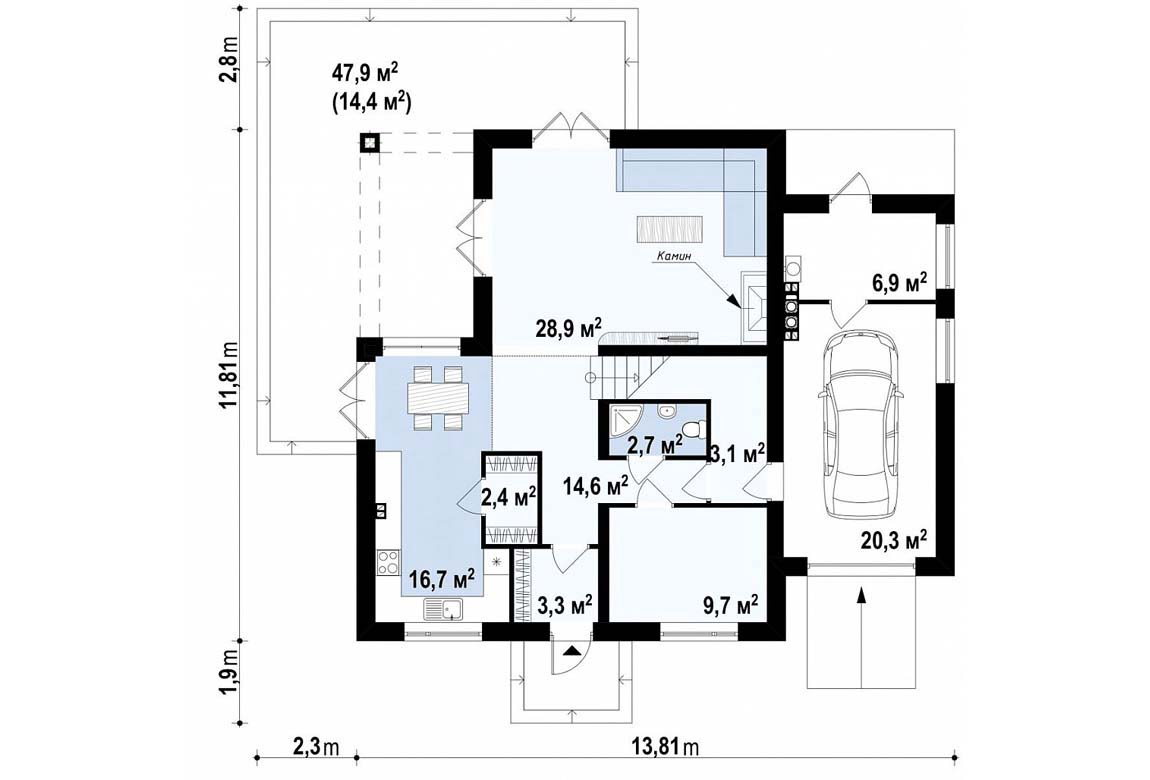 План N1 проекта дома из блоков АСД-1862