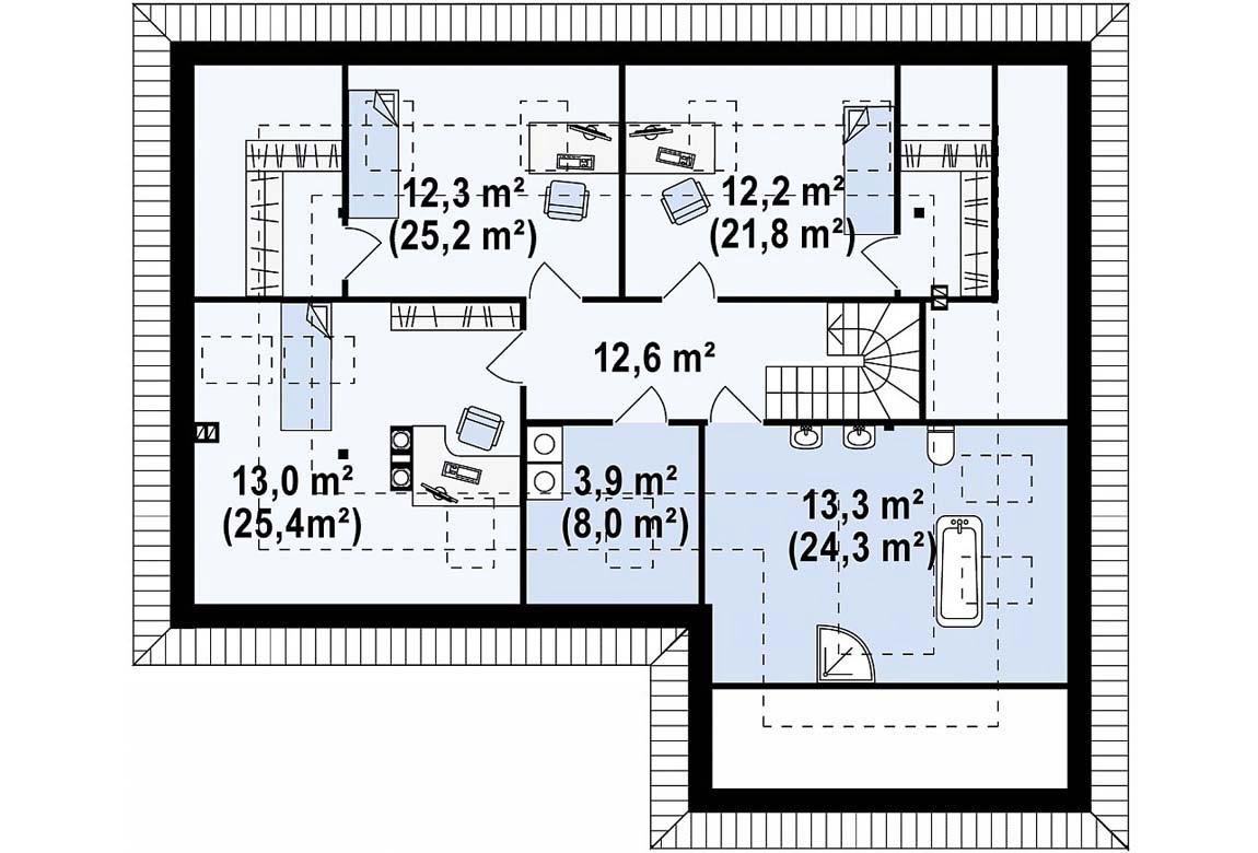 План N2 проекта дома из блоков АСД-1863