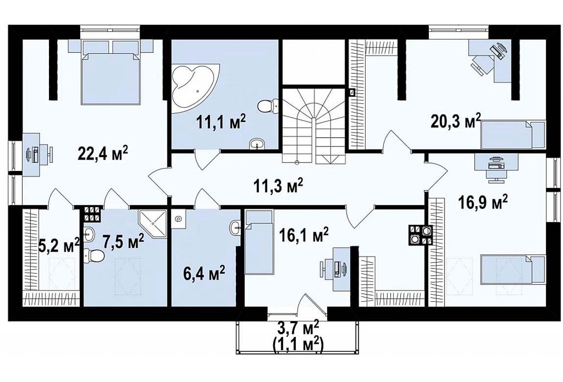 План N2 проекта дома из блоков АСД-1865