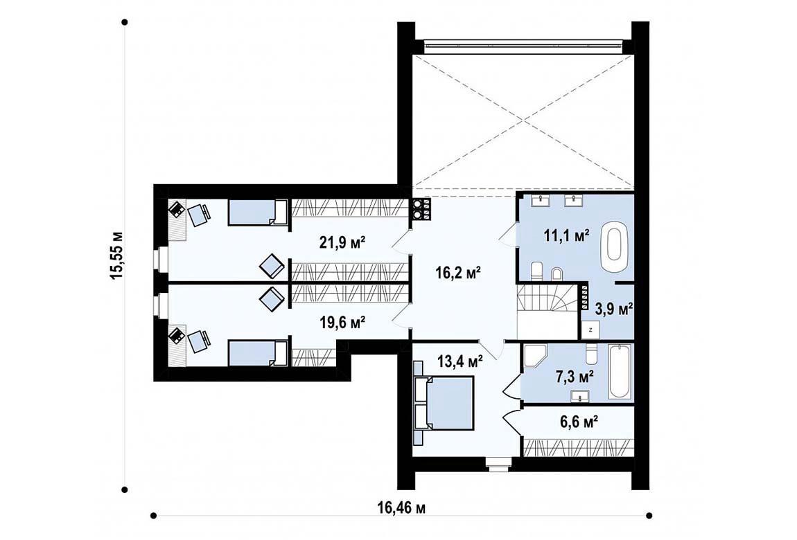 План N2 проекта дома из блоков АСД-1867