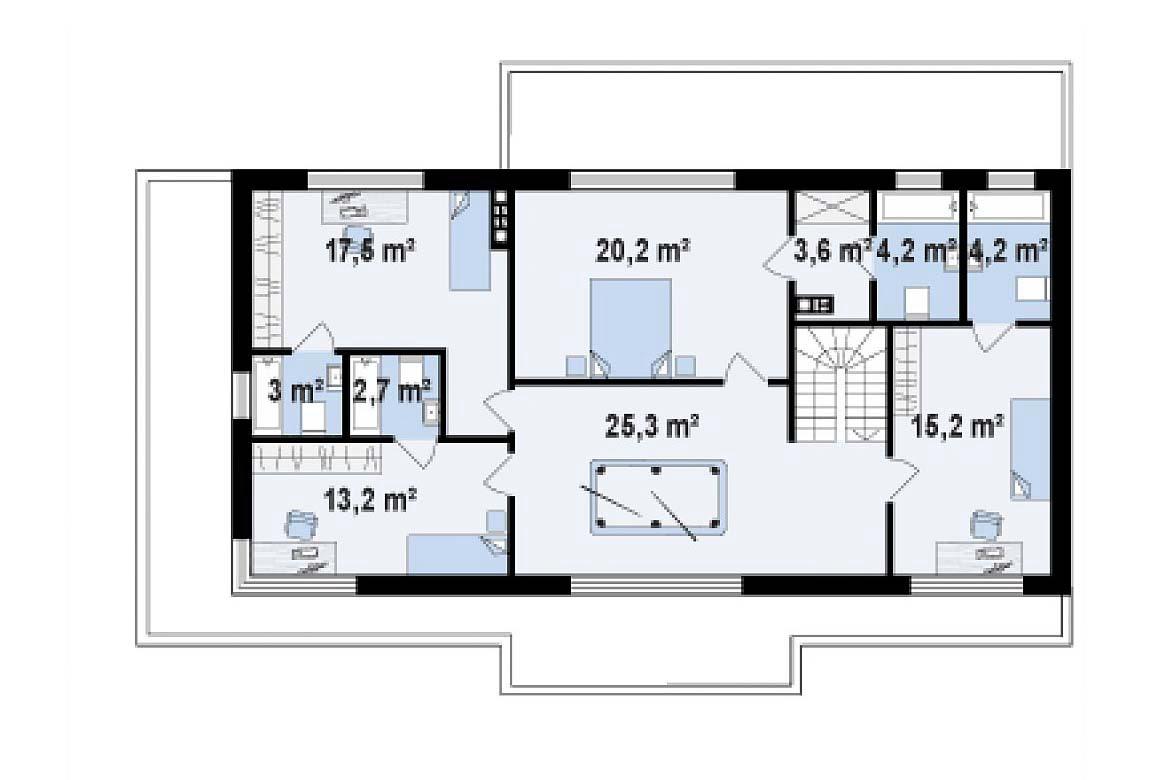 План N2 проекта дома из блоков АСД-1868