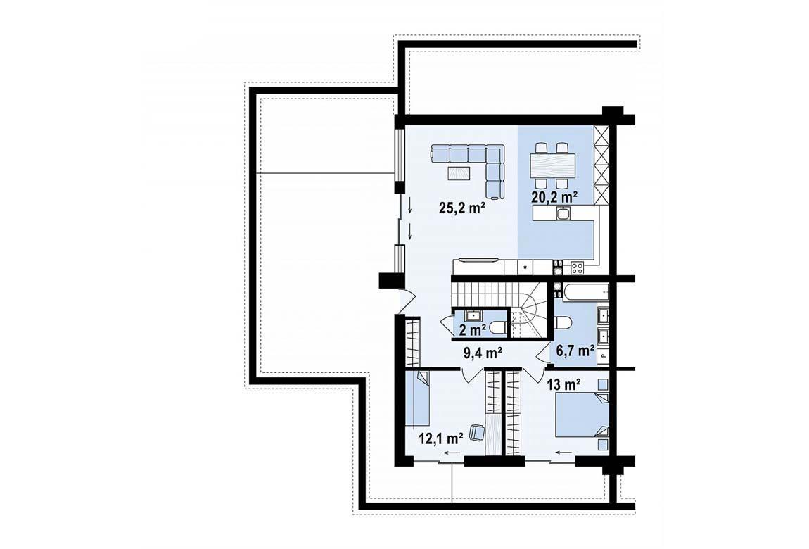 План N2 проекта дома из блоков АСД-1869