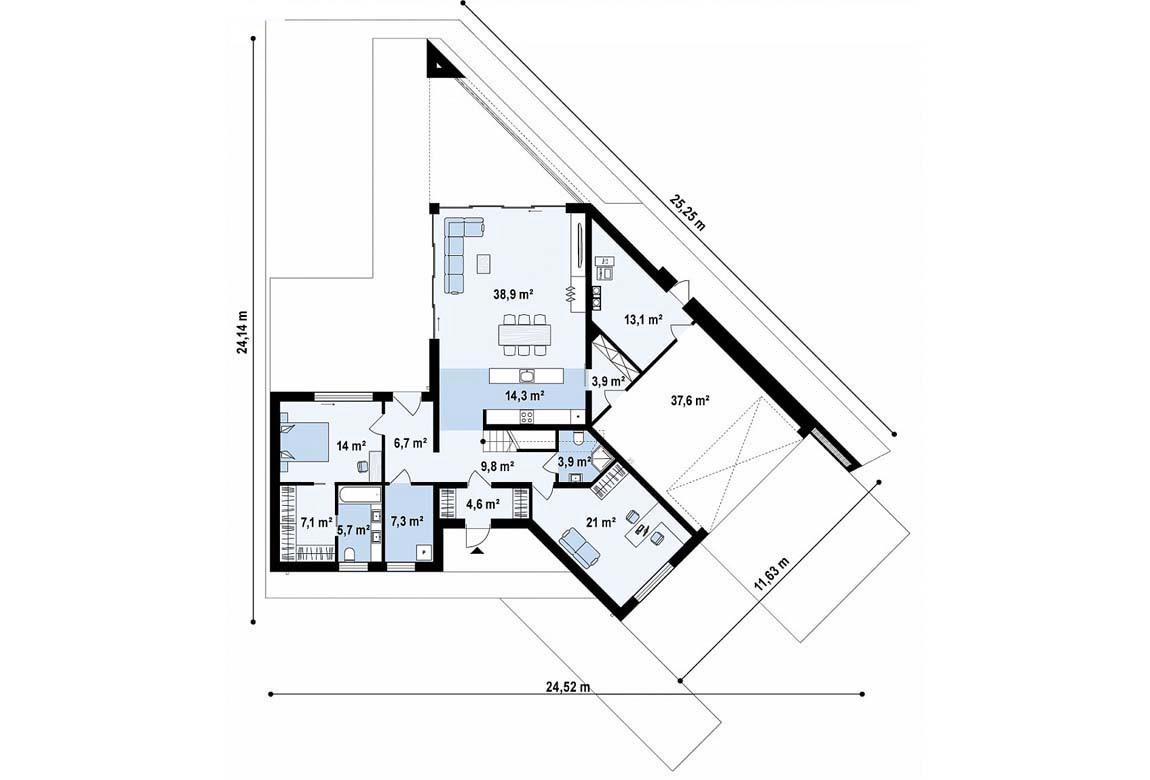 План N1 проекта дома из блоков АСД-1870